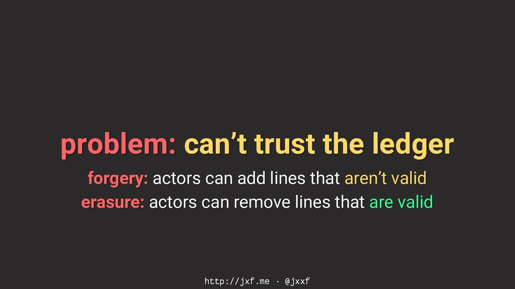 problem: can't trust the ledger forgery: actors...