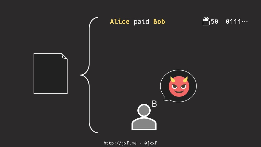 http://jxf.me · @jxxf Alice paid Bob 50 0111⋯ B