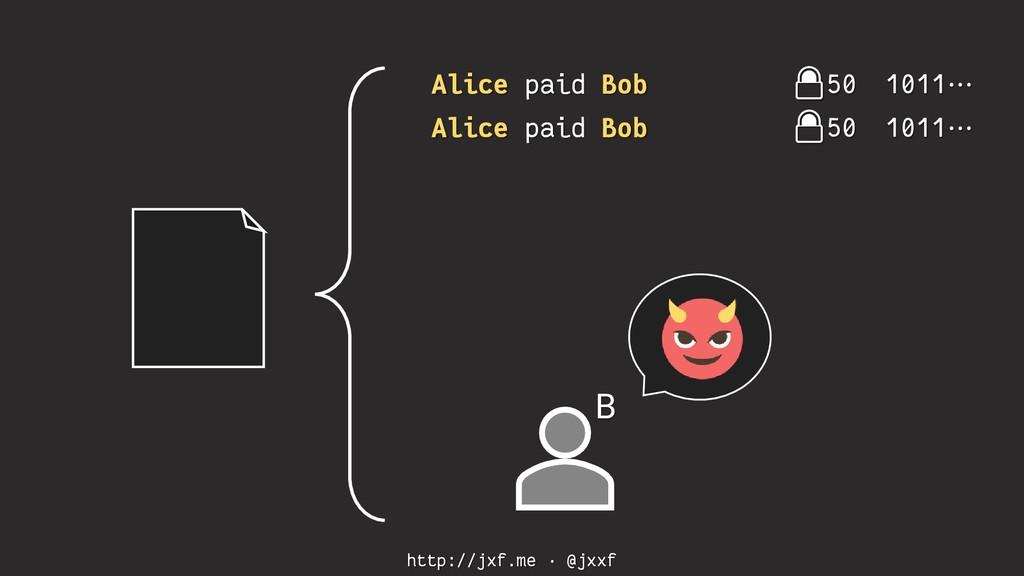 http://jxf.me · @jxxf Alice paid Bob 50 1011⋯ A...
