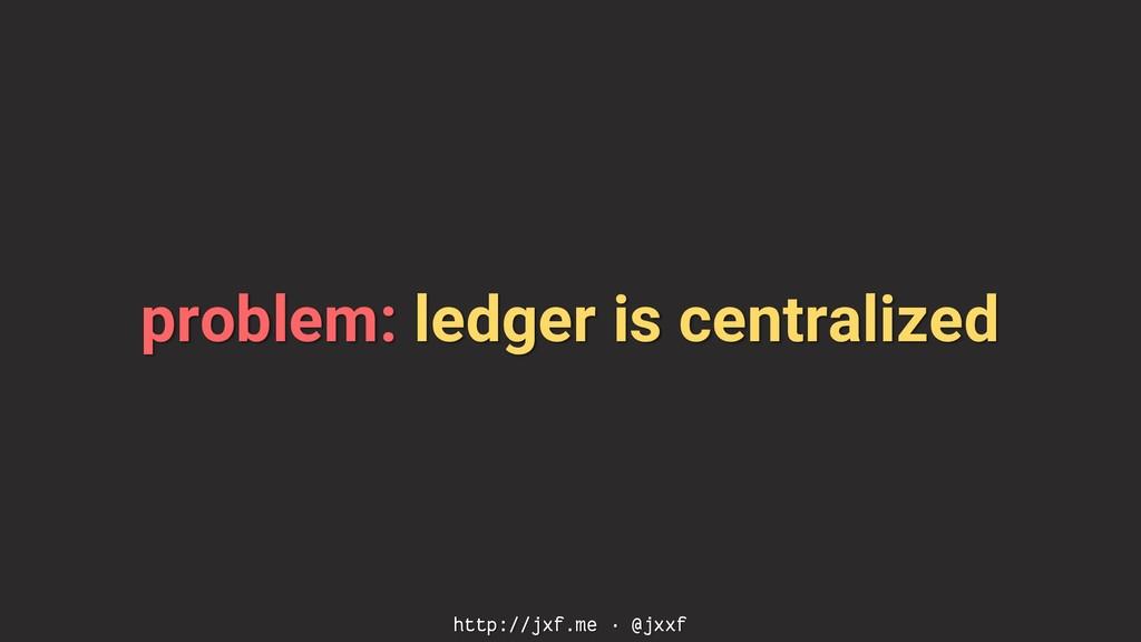 problem: ledger is centralized http://jxf.me · ...