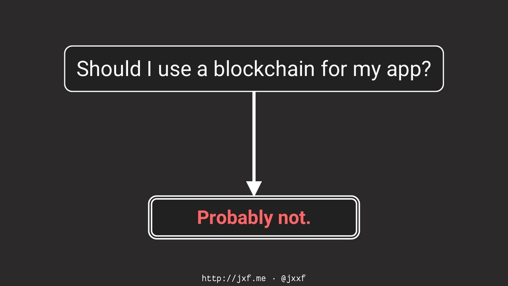 http://jxf.me · @jxxf Should I use a blockchain...