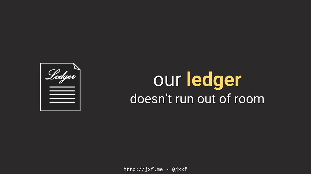 Ledger http://jxf.me · @jxxf our ledger doesn't...