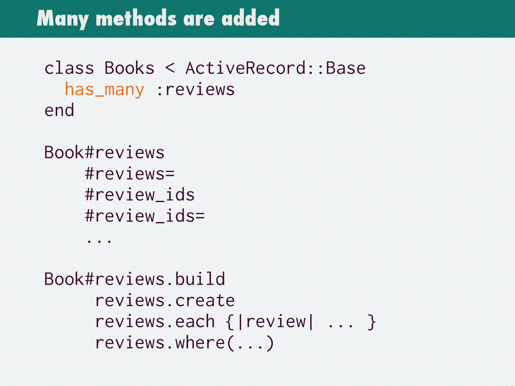 Many methods are added class Books < ActiveReco...