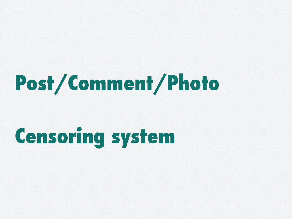 Post/Comment/Photo Censoring system