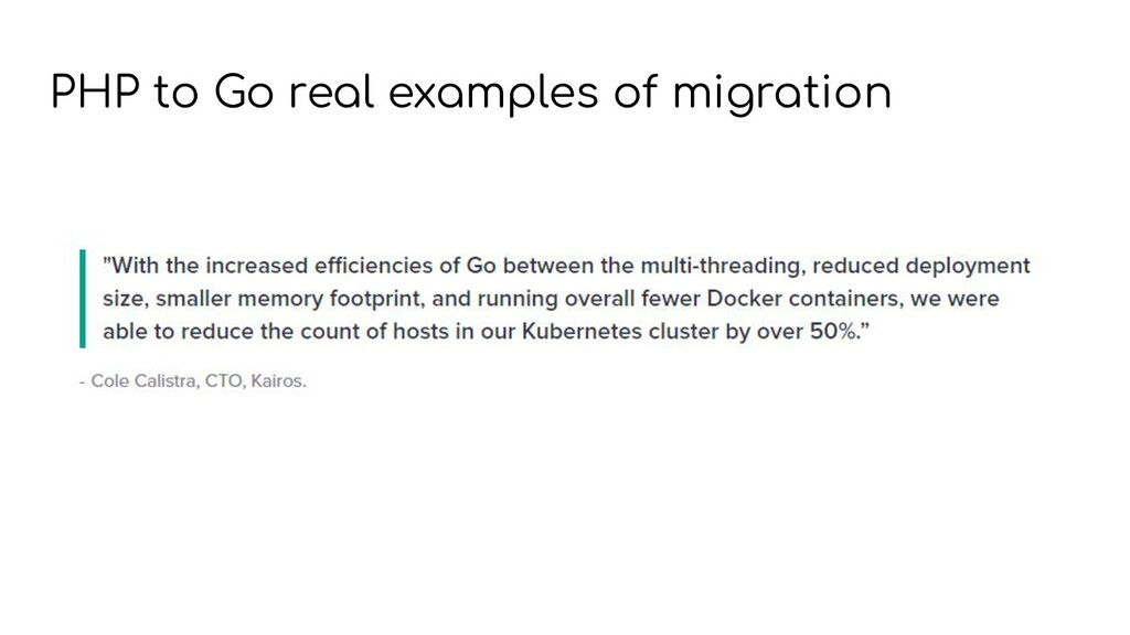 PHP to Go real examples of migration