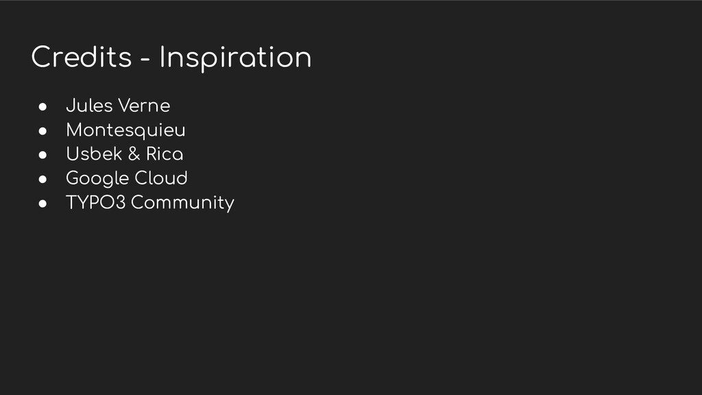 Credits - Inspiration ● Jules Verne ● Montesqui...