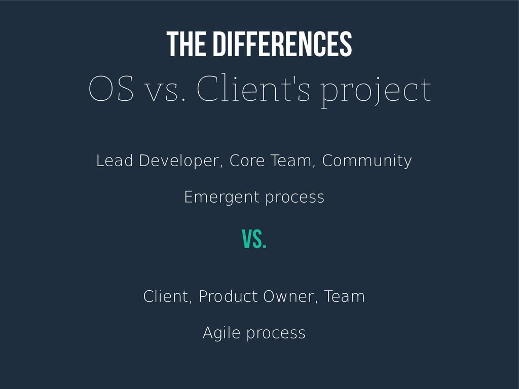 The differences OS vs. Client's project Lead De...