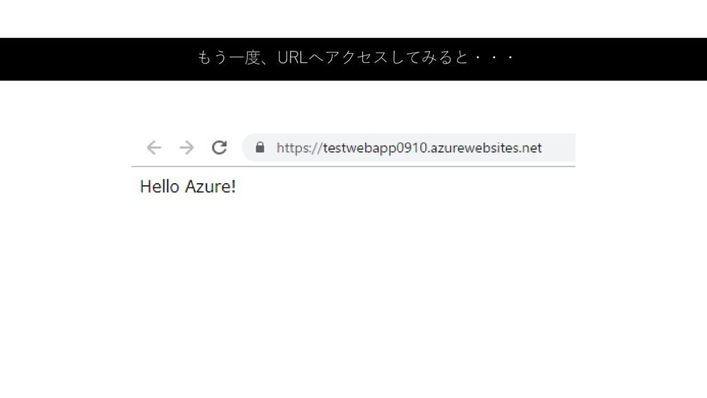 もう一度、URLへアクセスしてみると・・・
