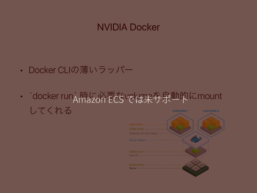 NVIDIA Docker • Docker CLIͷബ͍ϥούʔ • `docker run...