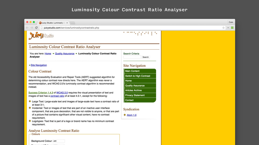 Luminosity Colour Contrast Ratio Analyser