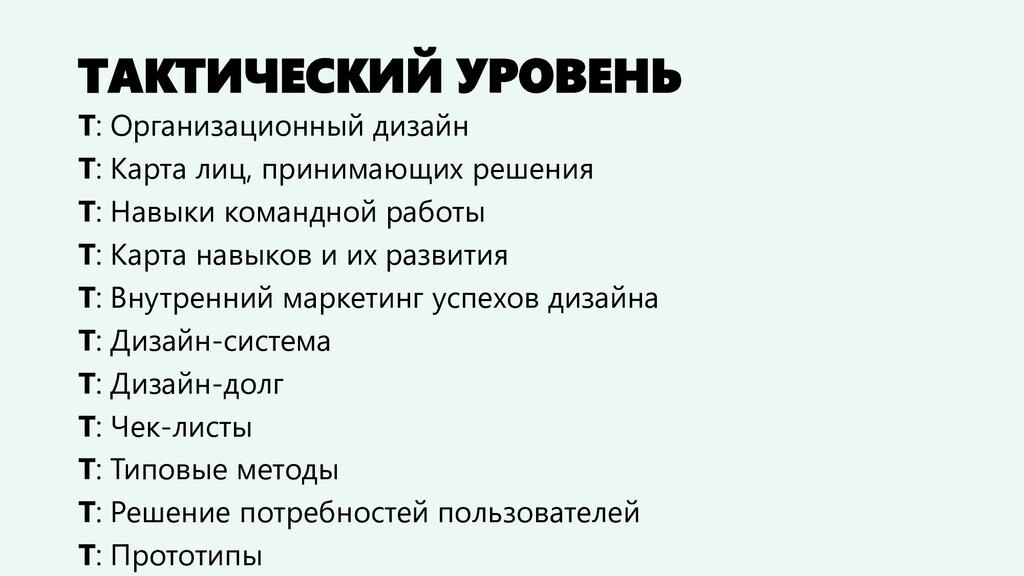 ТАКТИЧЕСКИЙ УРОВЕНЬ Т: Организационный дизайн Т...