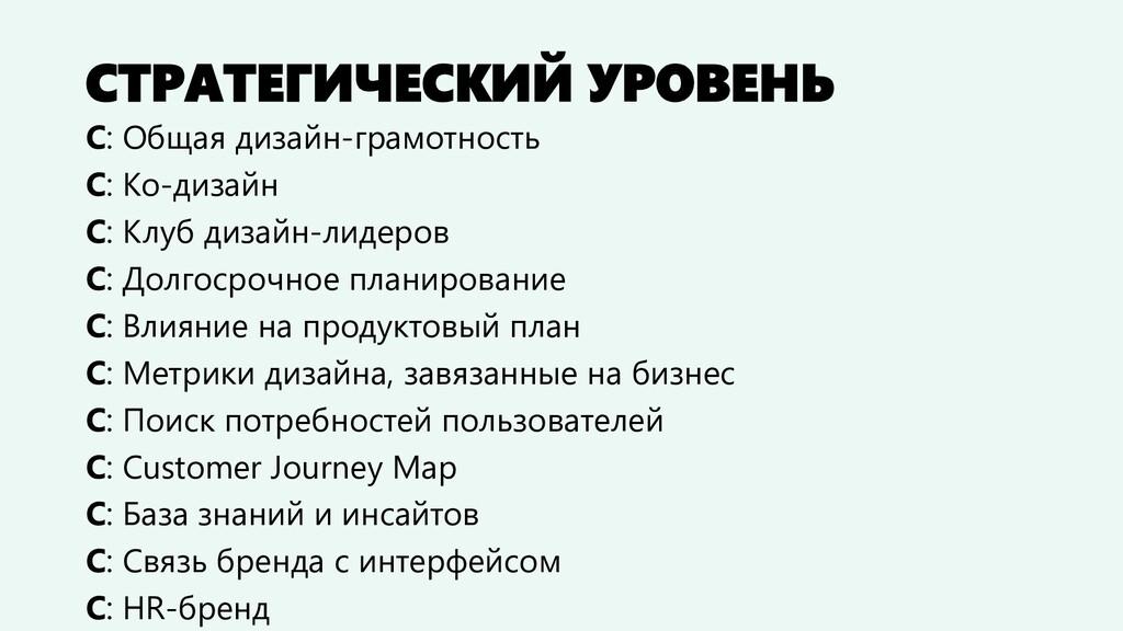 СТРАТЕГИЧЕСКИЙ УРОВЕНЬ С: Общая дизайн-грамотно...