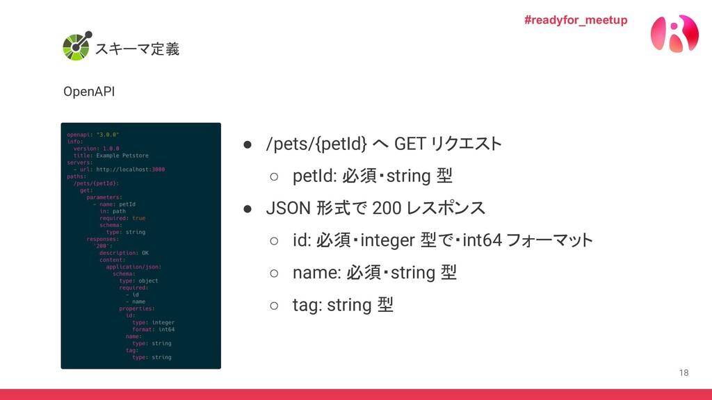 18 スキーマ定義 OpenAPI #readyfor_meetup ● /pets/{pet...