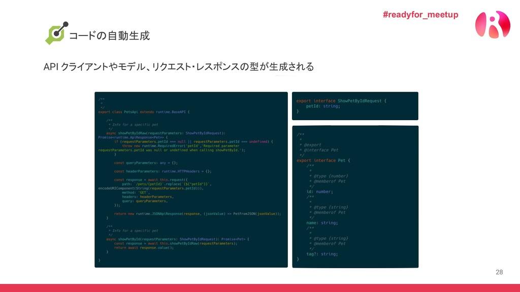 28 コードの自動生成 API クライアントやモデル、リクエスト・レスポンスの型が生成される ...