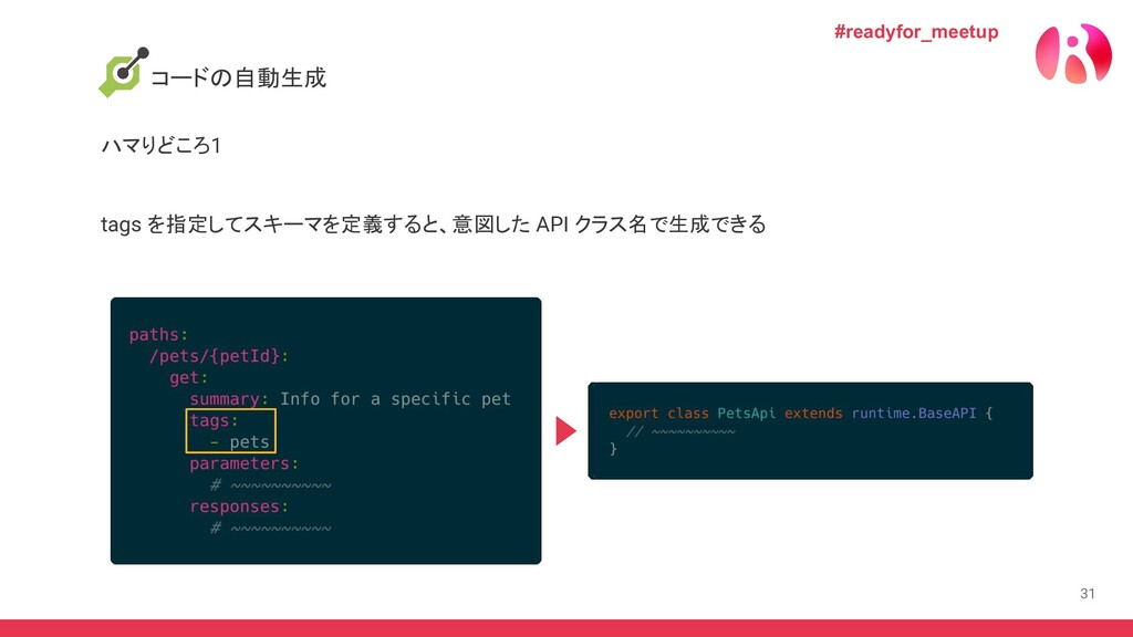 31 tags を指定してスキーマを定義すると、意図した API クラス名で生成できる コード...