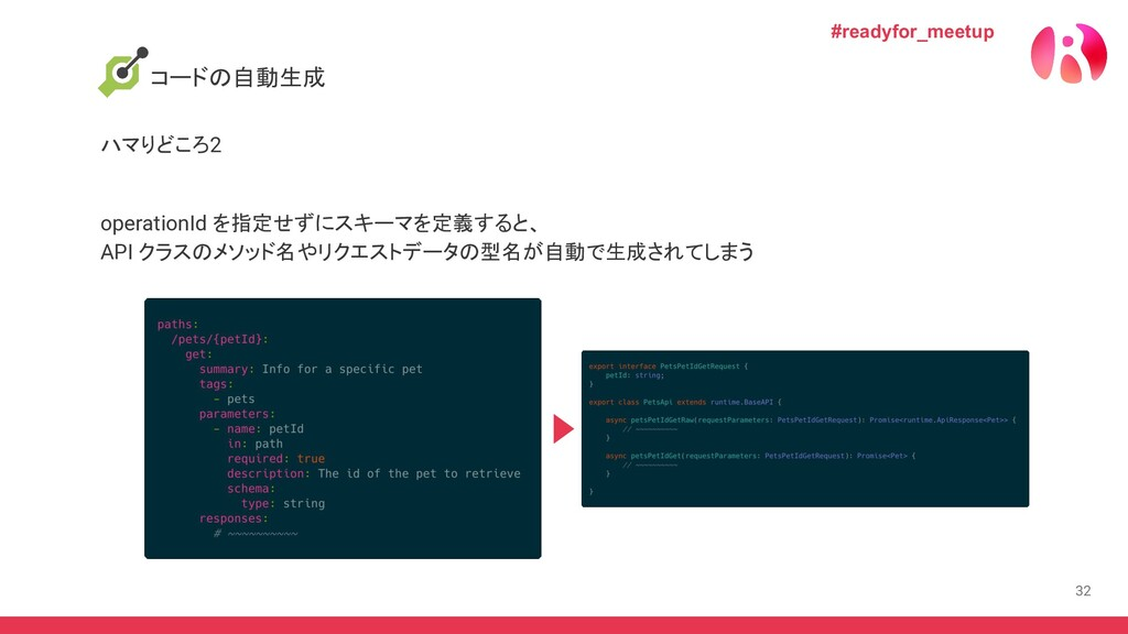 32 コードの自動生成 ハマりどころ2 #readyfor_meetup operationI...