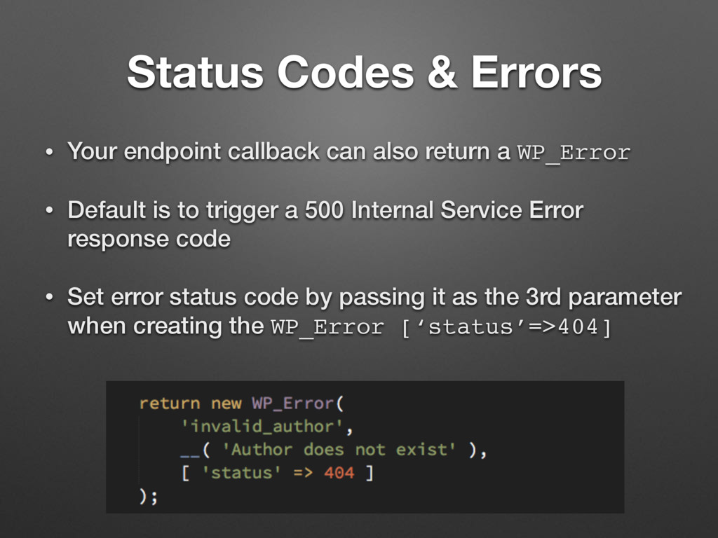 Status Codes & Errors • Your endpoint callback ...