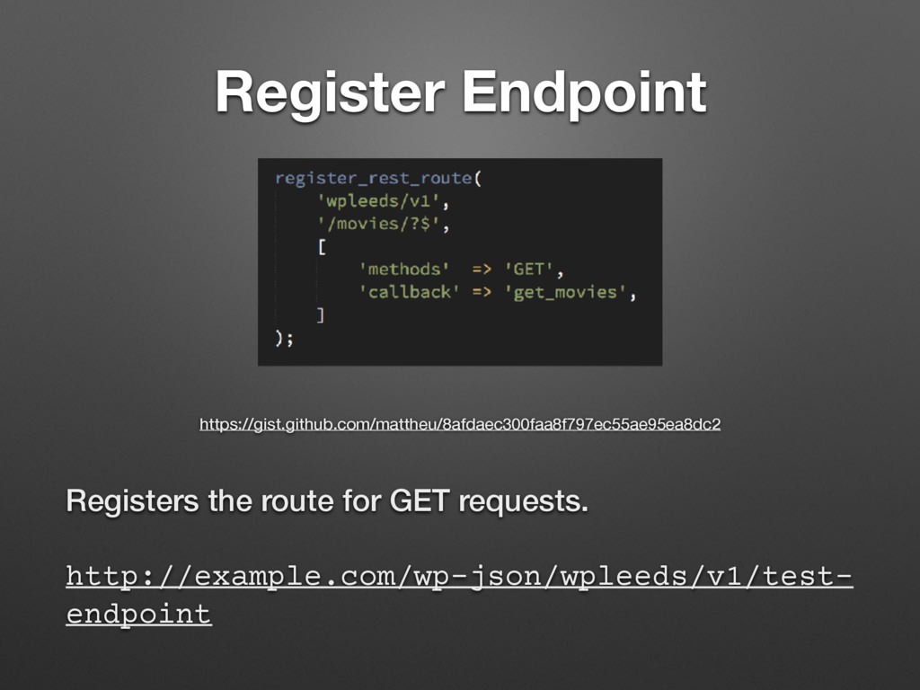 Register Endpoint Registers the route for GET r...
