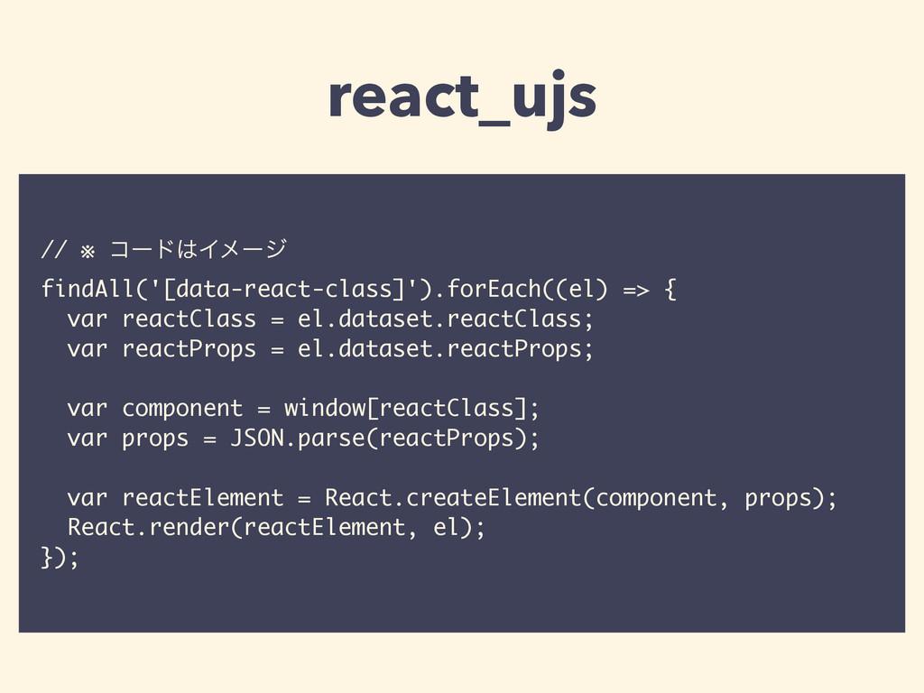// ※ ίʔυΠϝʔδ findAll('[data-react-class]').for...