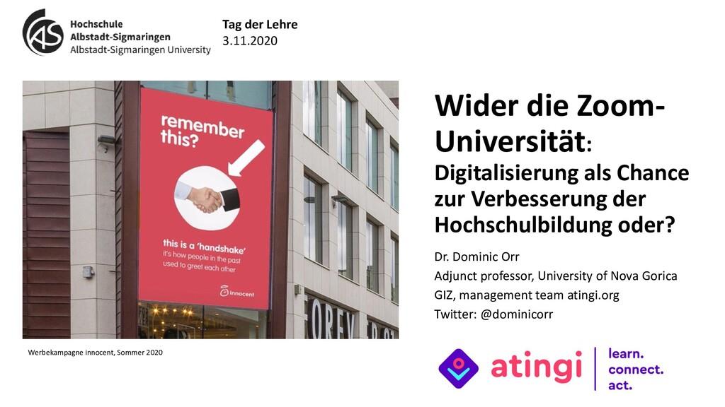 Wider die Zoom- Universität: Digitalisierung al...