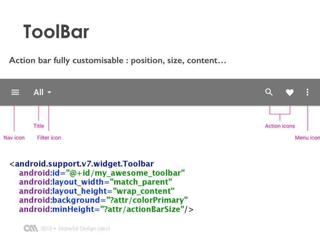 2015 • ToolBar Material Design (dev) Action bar...