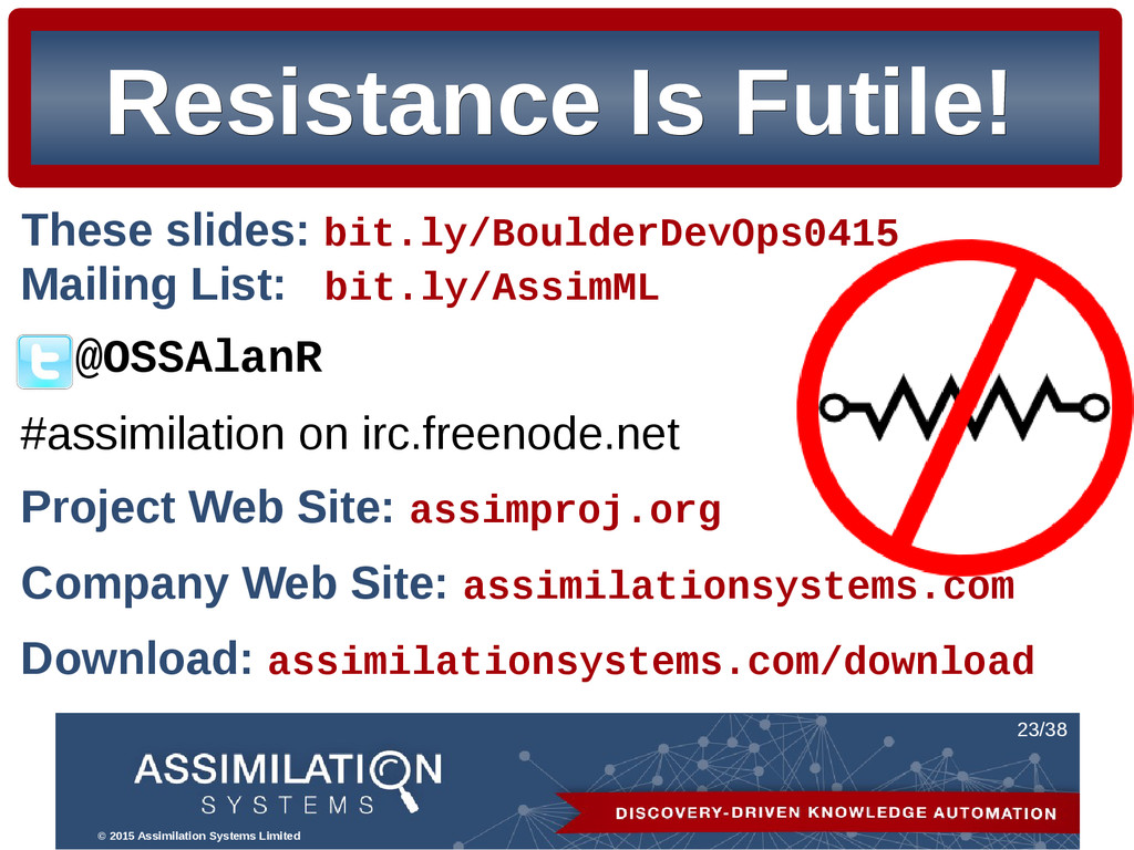© 2015 Assimilation Systems Limited 23/38 Resis...