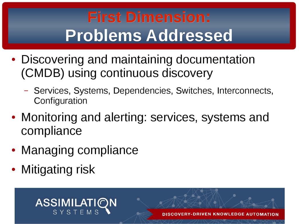 First Dimension First Dimension: : Problems Add...