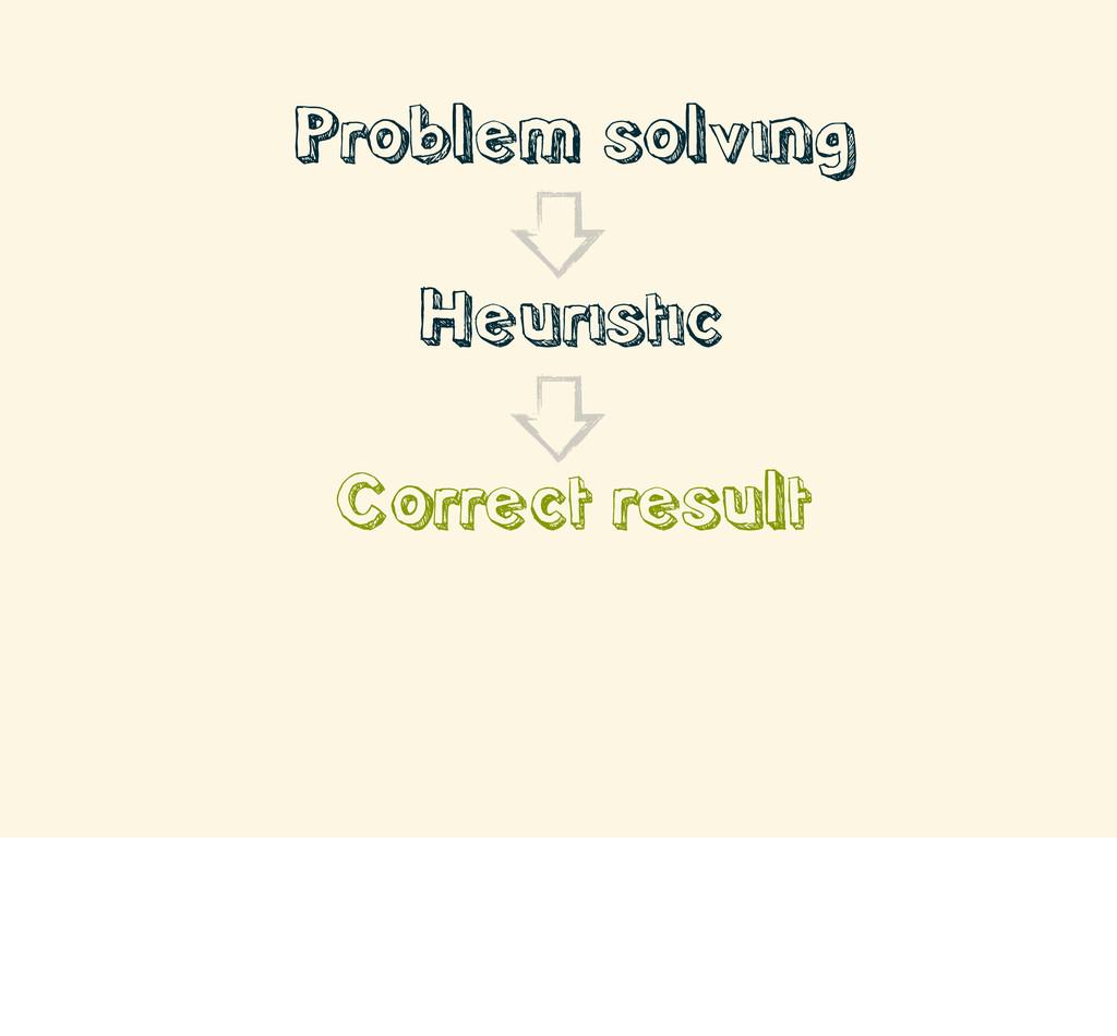 • Problem solving • Heuristic • Correct result