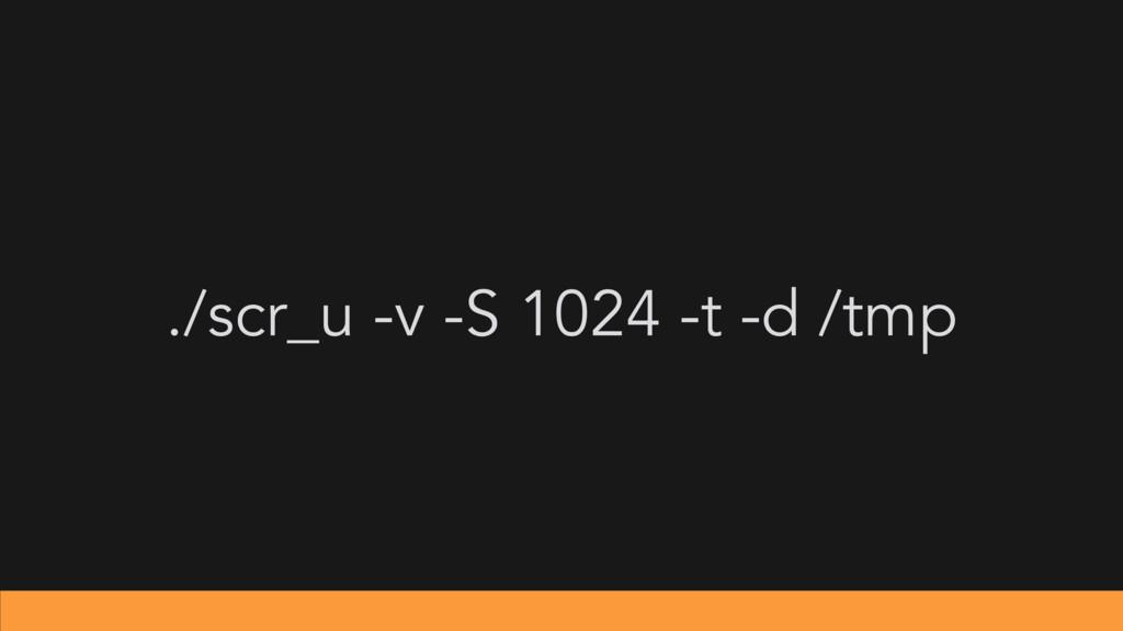 ./scr_u -v -S 1024 -t -d /tmp
