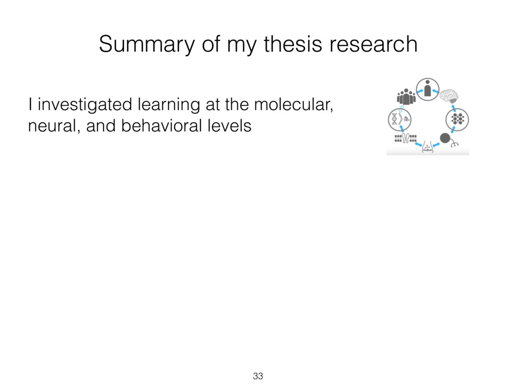 33 I investigated learning at the molecular, ne...