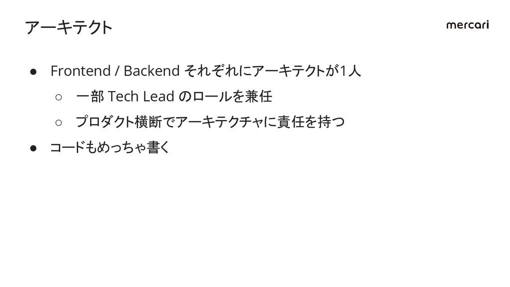 ● Frontend / Backend それぞれにアーキテクトが1人 ○ 一部 Tech L...