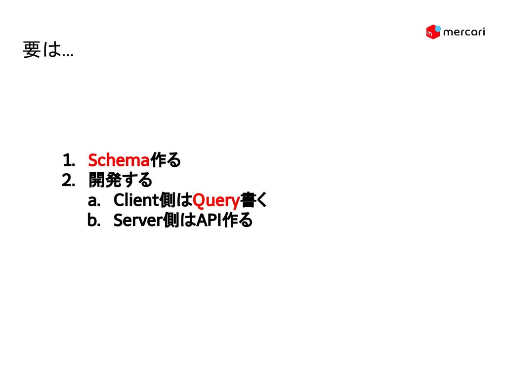 1. Schema作る 2. 開発する a. Client側はQuery書く b. Serve...