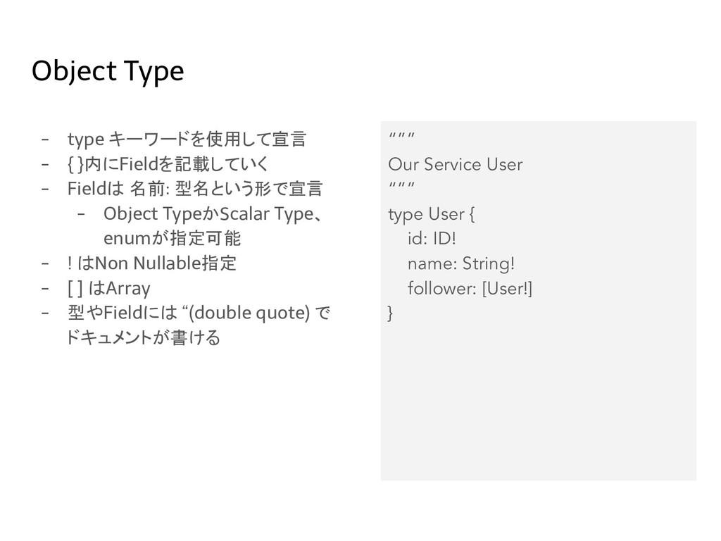 Object Type - type キーワードを使用して宣言 - { }内にFieldを記載...