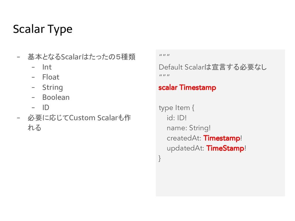 Scalar Type - 基本となるScalarはたったの5種類 - Int - Float...