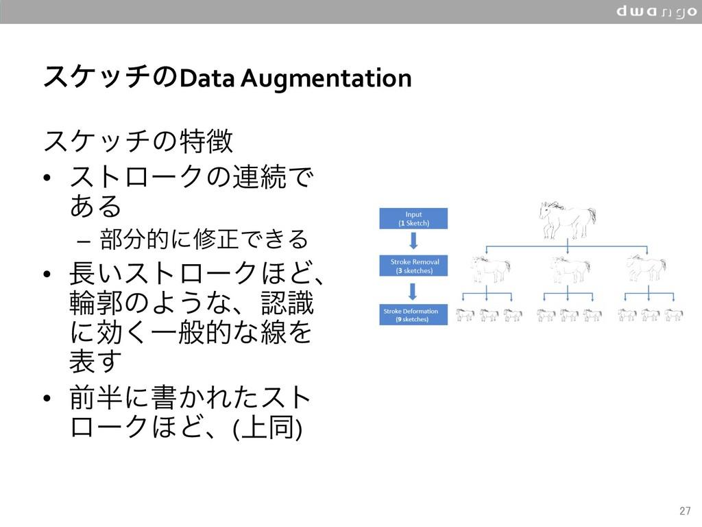 εέονͷData Augmentation εέονͷಛ • ετϩʔΫͷ࿈ଓͰ ͋Δ...