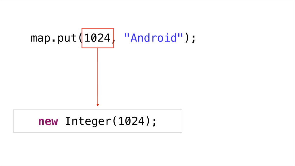 "map.put(1024, ""Android""); new Integer(1024);"