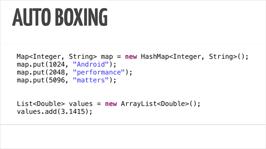 AUTO BOXING ! Map<Integer, String> map = new Ha...