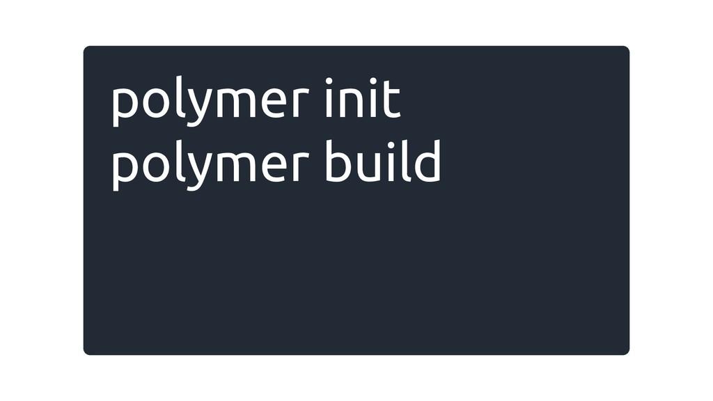 polymer init polymer build