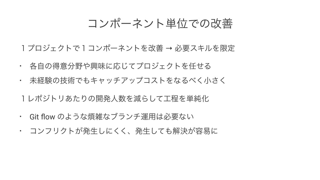 ίϯϙʔωϯτ୯ҐͰͷվળ ̍ϓϩδΣΫτͰ̍ίϯϙʔωϯτΛվળ → ඞཁεΩϧΛݶఆ • ...