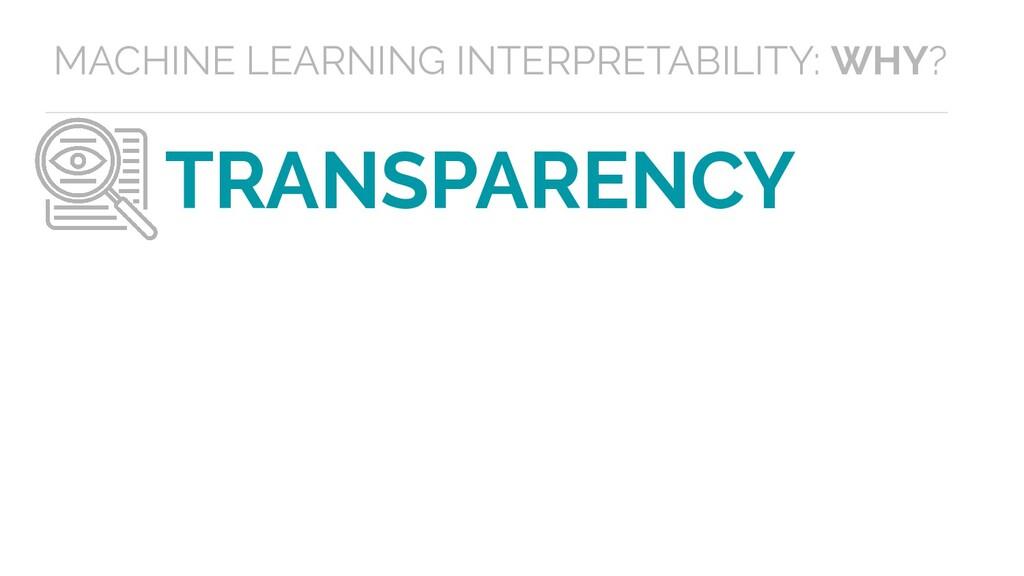 TRANSPARENCY MACHINE LEARNING INTERPRETABILITY:...