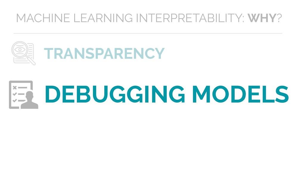 TRANSPARENCY DEBUGGING MODELS MACHINE LEARNING ...