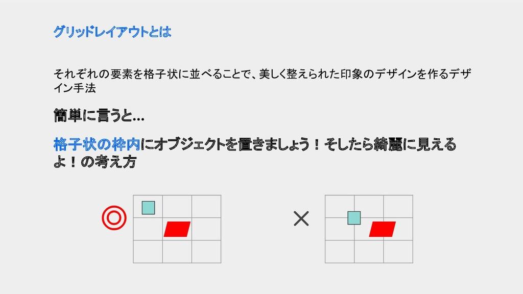 それぞれの要素を格子状に並べることで、美しく整えられた印象のデザインを作るデザ イン手法 簡単...