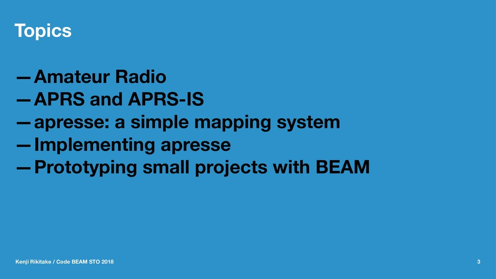 Topics —Amateur Radio —APRS and APRS-IS —apress...