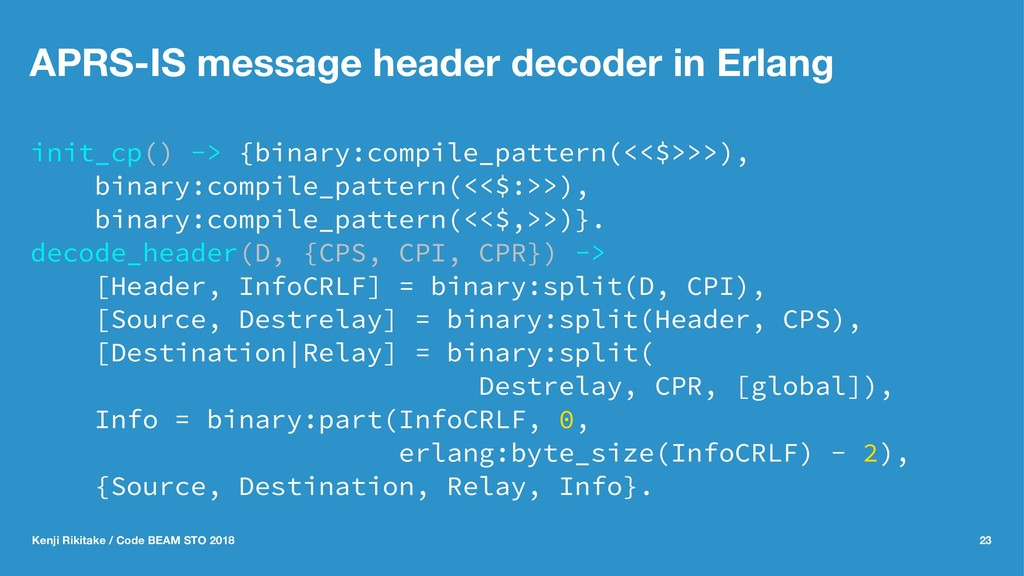 APRS-IS message header decoder in Erlang init_c...