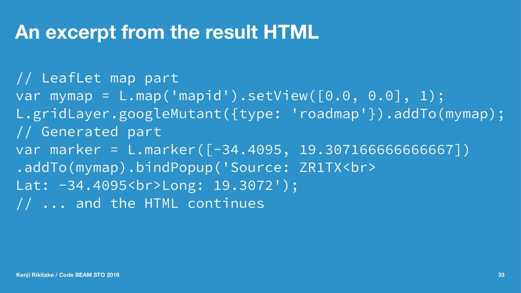 An excerpt from the result HTML // LeafLet map ...