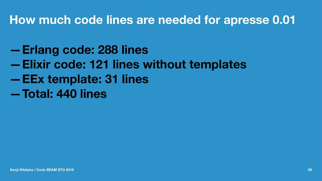 How much code lines are needed for apresse 0.01...