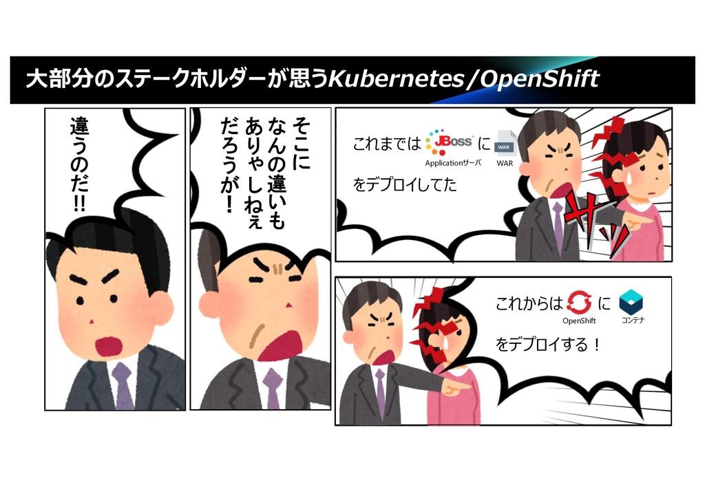 """⼤部分のステークホルダーが思うKubernetes/OpenShift ! """" # $ % &..."""