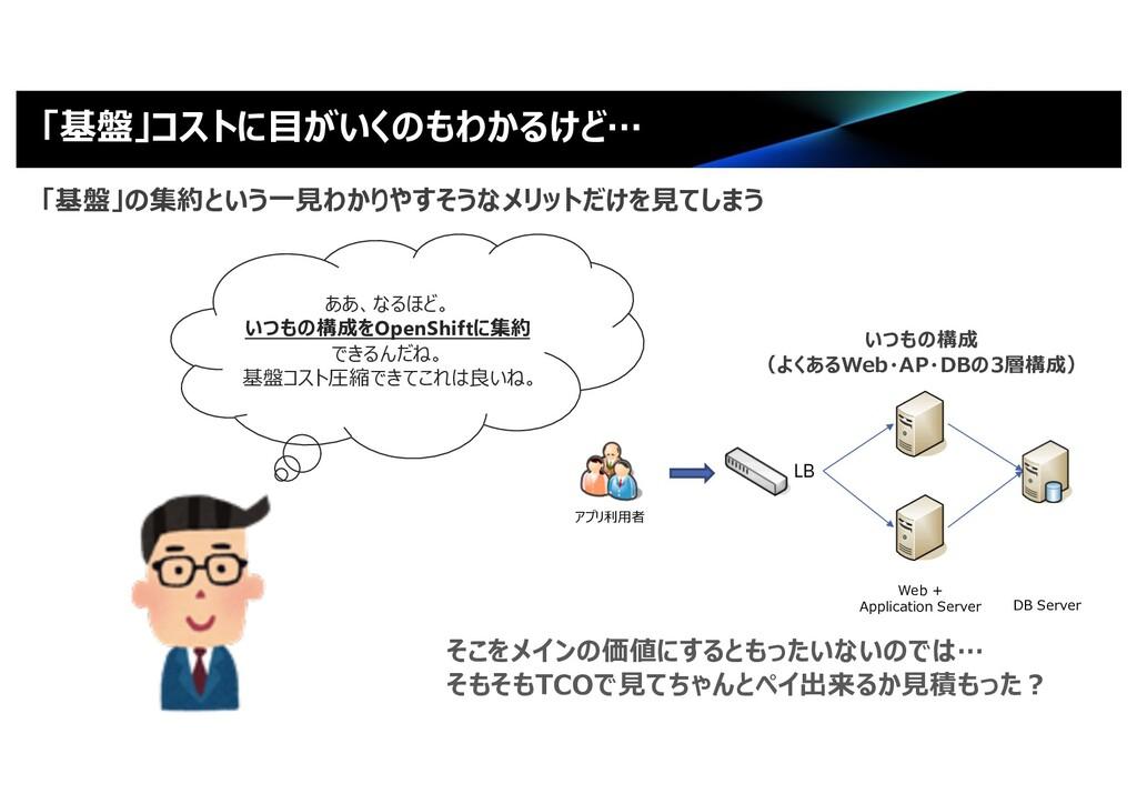「基盤」コストに⽬がいくのもわかるけど… LB Web + Application Serve...