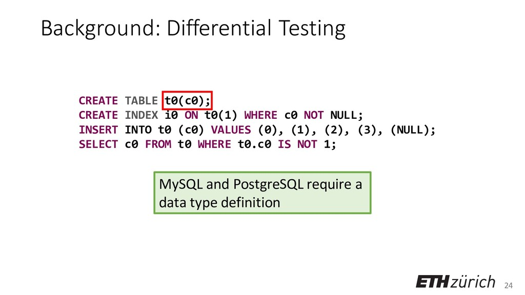 24 Background: Differential Testing CREATE TABL...