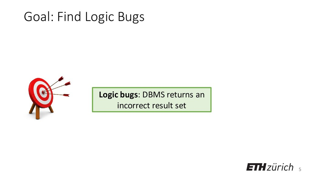 5 Goal: Find Logic Bugs Logic bugs: DBMS return...